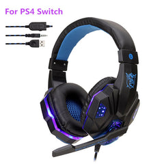 Professional Bass Gamer Wired Headphones For PS4 Switch Xbox One Gaming Headset With Mic LED Light Computer PC Phone Headset