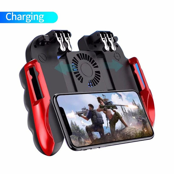 H9 Six Finger PUBG Game Controller Gamepad Trigger Shooting Free Fire Cooling Fan Gamepad Joystick For IOS Android Mobile Phone
