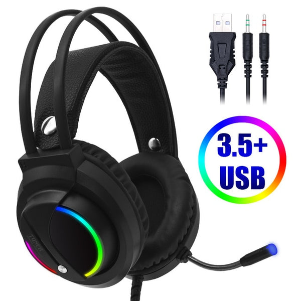 Gaming Headset Gamer 7.1 Surround Sound USB 3.5mm Wired RGB Light Game Headphones with Microphone for Tablet PC Xbox One 360