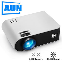 AUN MINI Projector W18, Local delivery in Russia. Optional W18C Wireless Sync Display For Phone, LED Projector for 1080P Video.P