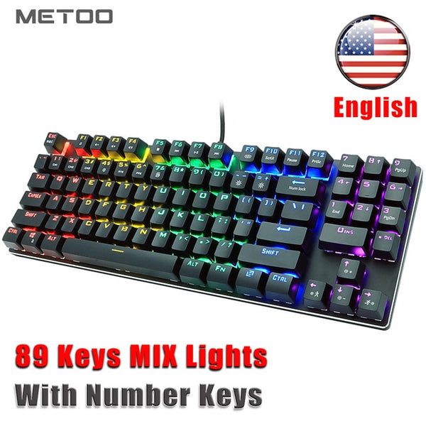 METOO Wired Gaming Mechanical Keyboard Backlit 89 Key Anti-ghosting Blue Red Brown Switch Number keys For Game Laptop PC Russian