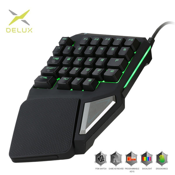 Programmable Keys Delux T9 Pro keypad Single Handed Game keyboard one hand Ergonomic Gaming Keypad For PUBG gun PC Laptop
