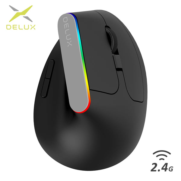 Delux M618C Wireless Mouse Ergonomic Vertical 6 Buttons Gaming Mouse RGB 1600 DPI Optical Mice With For PC Laptop