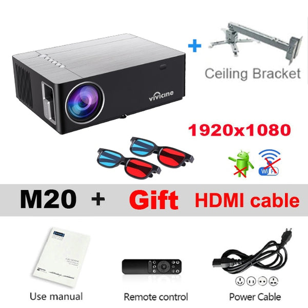 Vivicine M20 Newest 1080p Projector,Option Android 10.0 1920x1080 Full HD LED Home Theater Video Projector Beamer Support AC3