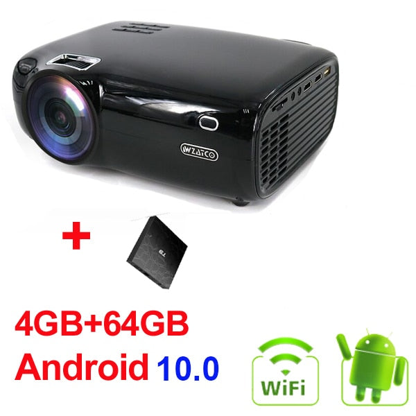 WZATCO E600 Android 10.0 Wifi Smart Portable Mini LED Projector Support Full HD 1080p 4K AC3 Video Home Theater Beamer Proyector