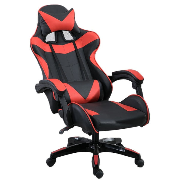 Gaming Racing Chair Adjustable Tilt Back Angle and Armrests Ergonomic High-Back Leather Executive Computer Desk Office Chair Red