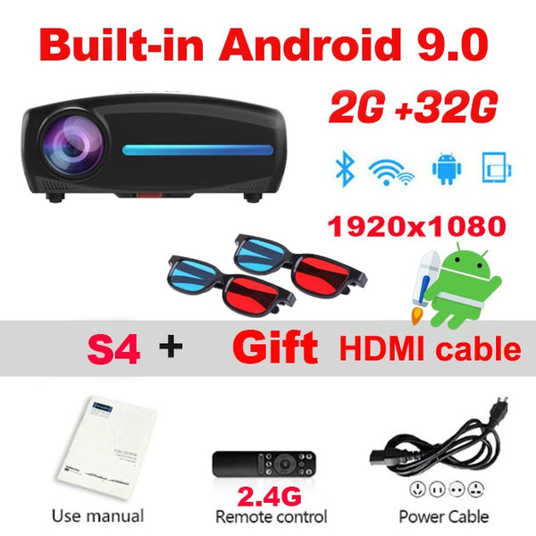 Vivicine S4 Built-in Android 9.0 HD 1080p Home Theater Video Projector,Support 4K HDMI USB PC Multimedia Movie Proyector Beamer