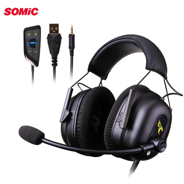 Somic G936N Gaming Headset Gamer PS4 Headphones 7.1 Virtual 3.5mm Wired PC Stereo Earphones with Microphone for PS4 Xbox Laptop