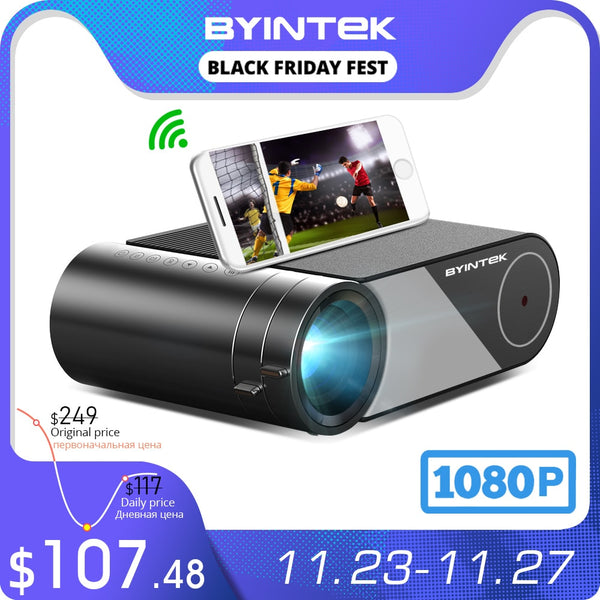 BYINTEK K9 Mini 1280x720P Portable Video Beamer LED Projector Proyector for 1080P 3D 4K Cinema(Option Multi-Screen For Iphone