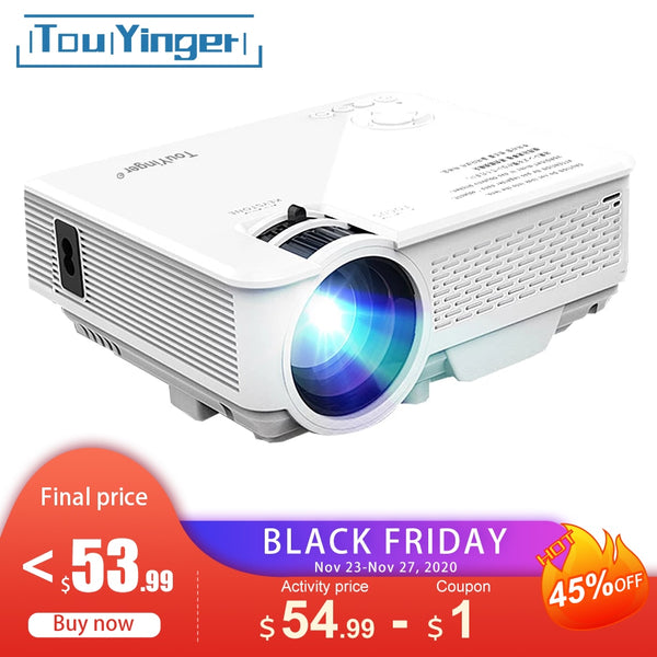 TouYinger M4 Mini LED projector support Full HD video beamer for Home Cinema theater Pico movie projectors Media Player portatil