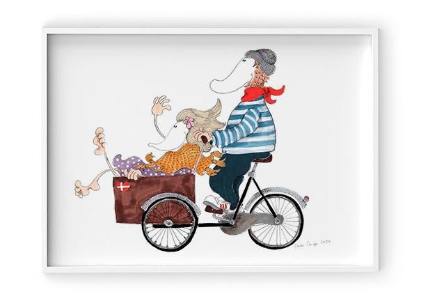 Load image into Gallery viewer, Hr og Fru Cykel - Indrammet plakat