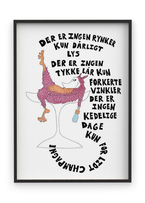 Champagne- Indrammet plakat