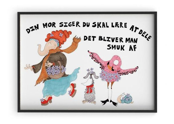 Load image into Gallery viewer, Din mor siger - Indrammet plakat