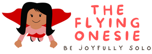 logo for flying onesie store solo living alone