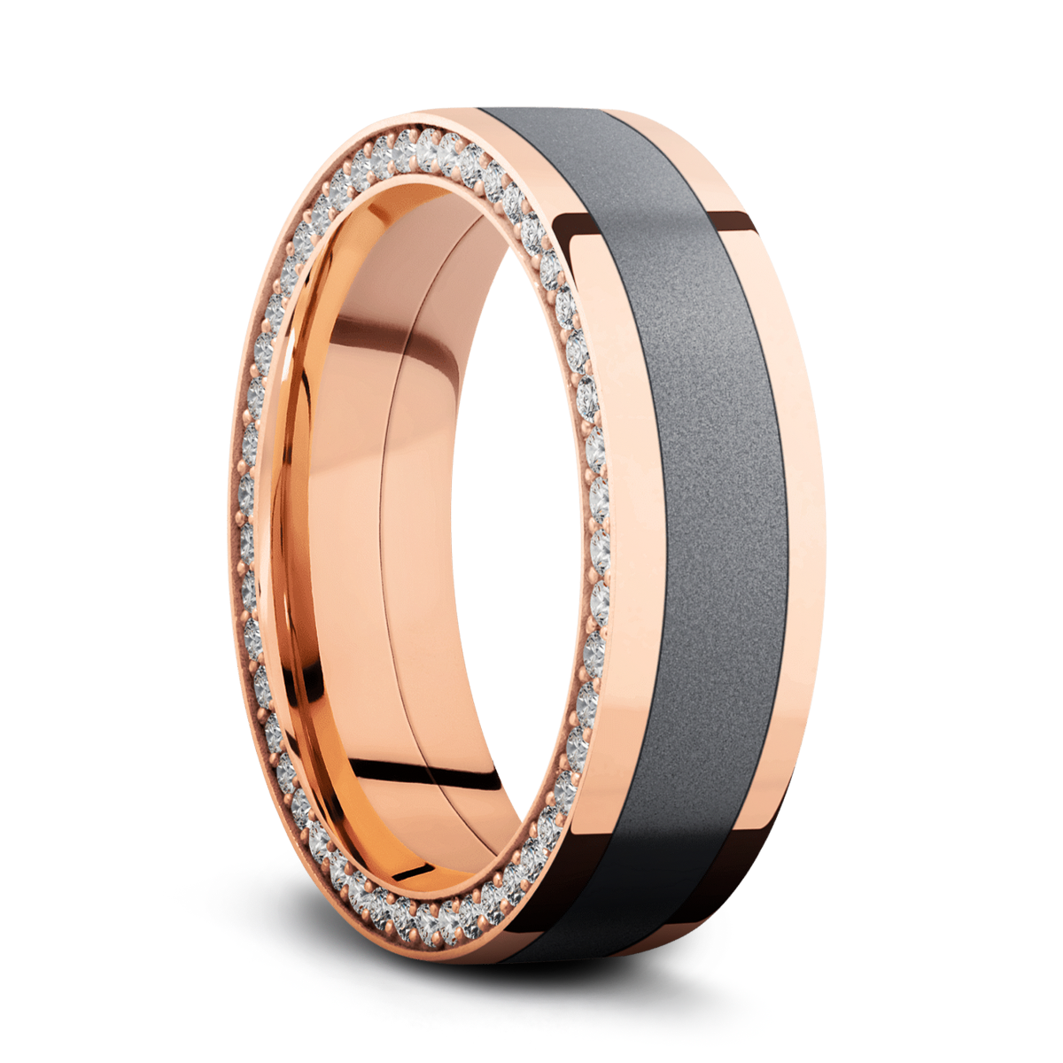 Rose Gold Ring with Tantalum Inlay and Side Eternity Diamond Arrangement