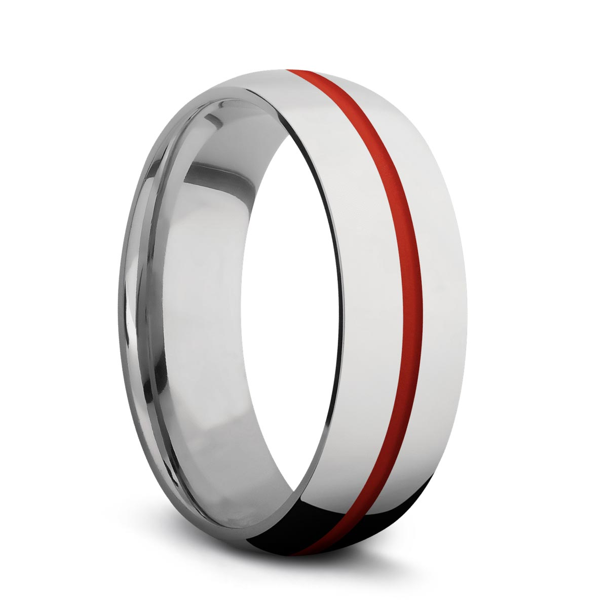 Domed Titanium Ring with Cerakote Inlay