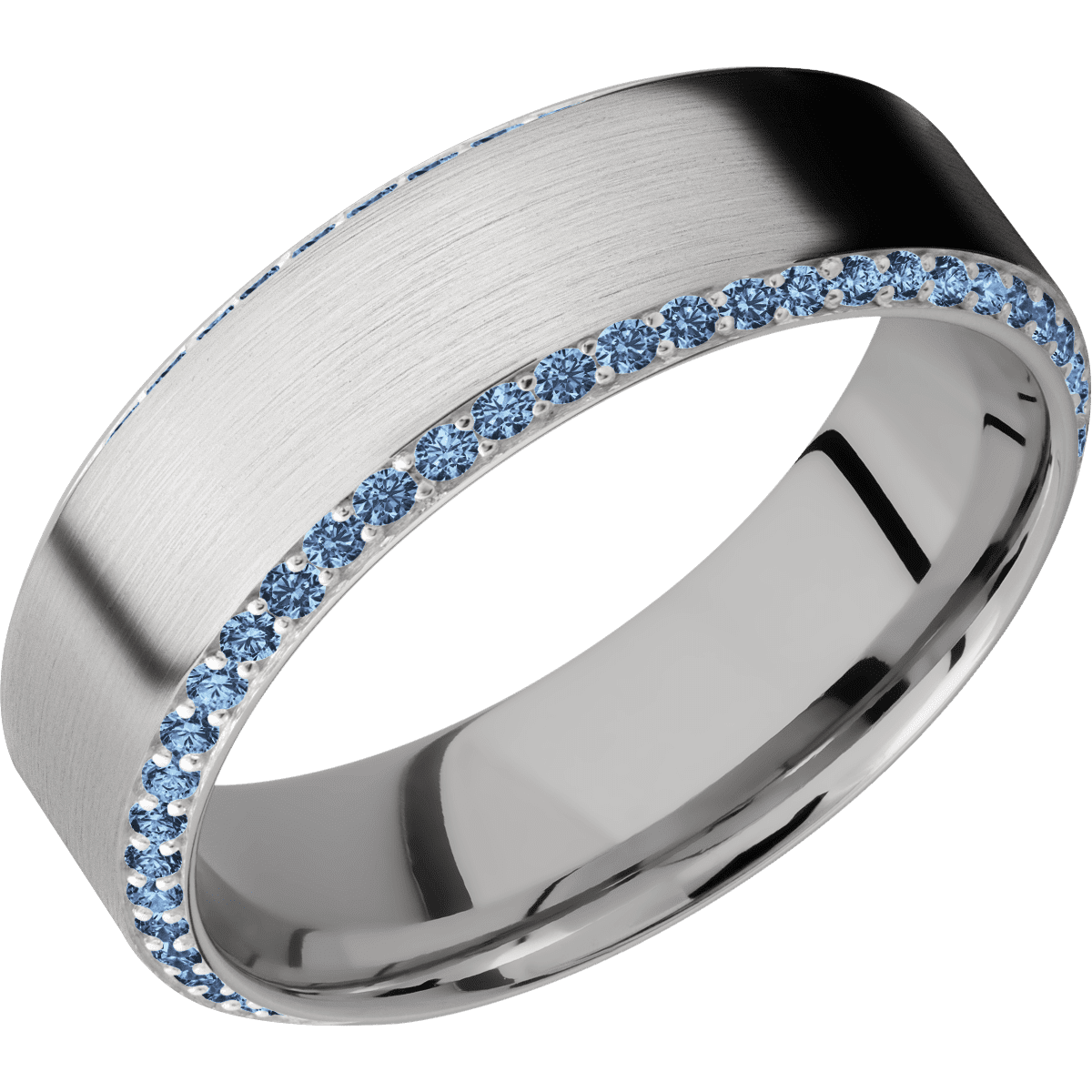 White Gold<br>+Denim Sapphires<br>+Satin Finish