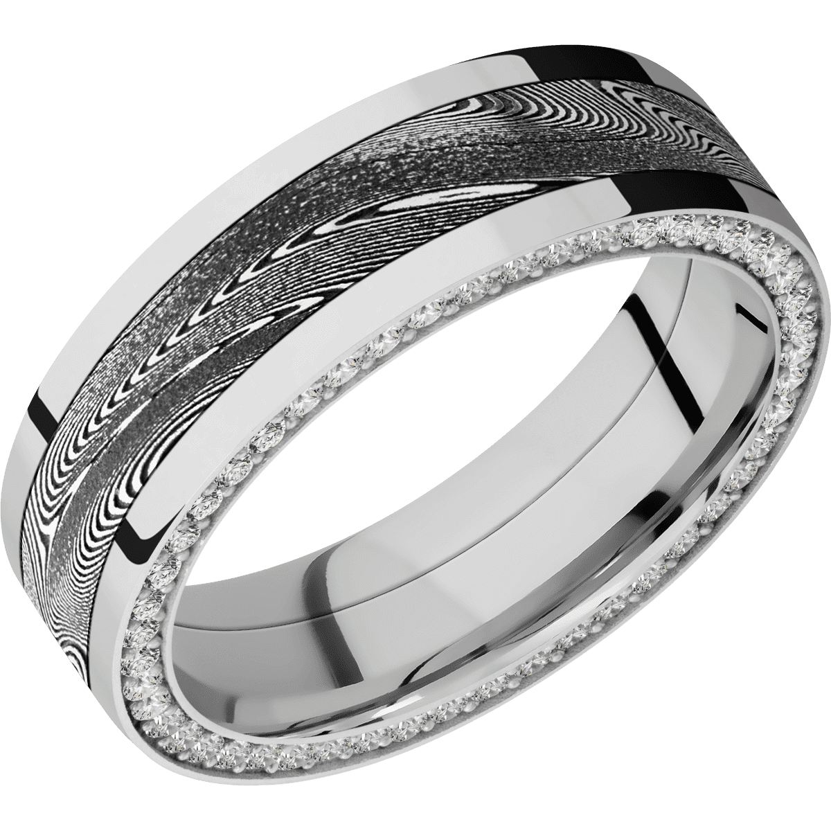 White Gold Ring with Damascus Inlay and Side Eternity Diamond Arrangement