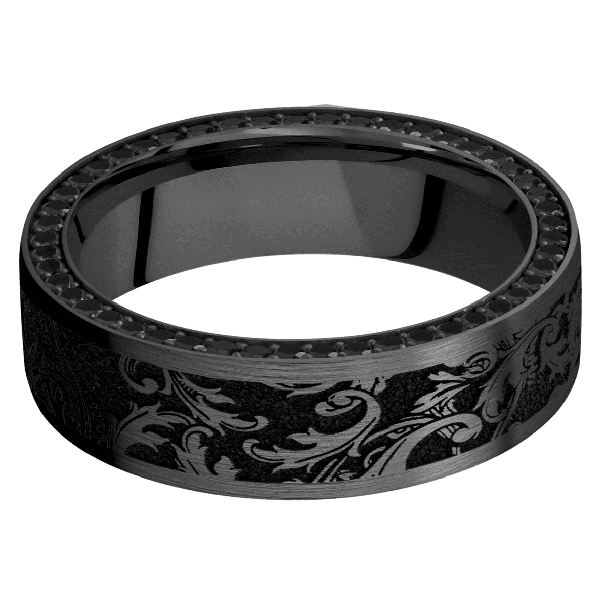 Zirconium Band with Black Leaf Pattern and Black Diamonds in a Side Eternity Arrangement