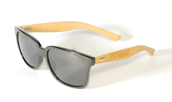 Bamboo Sunglasses with black frame wayfarer model