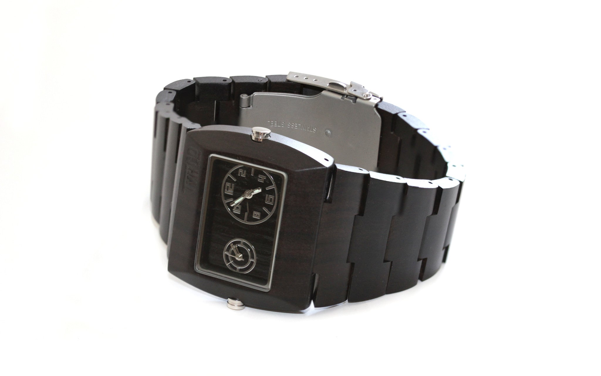 Wooden watch analog reclaimed wood walnut