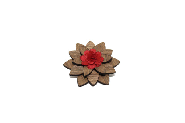 Ashville Wooden Lapel Pin Flower