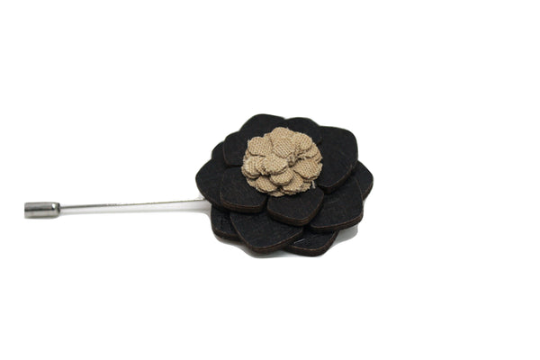 Brownsville Wooden Lapel Pin Flower