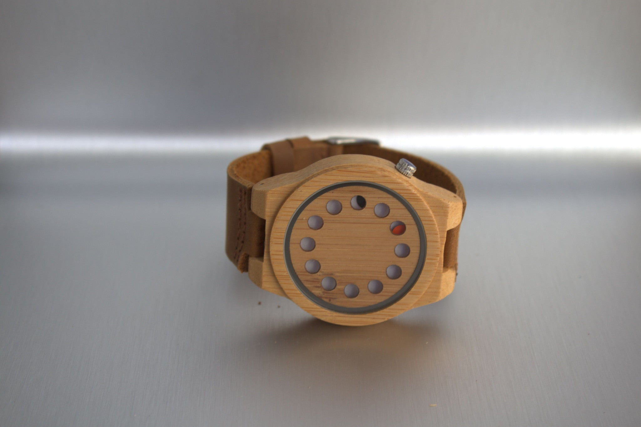 Minimalist round bamboo watch with leather strap