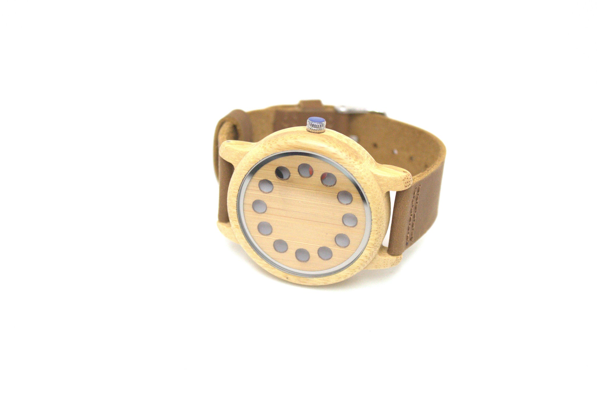 Bamboo Watch minimalist design leather strap