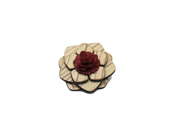 Hialeah Wooden Lapel Pin Flower