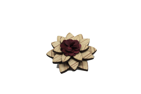 lapel pin flower wood reclaimed made in the usa