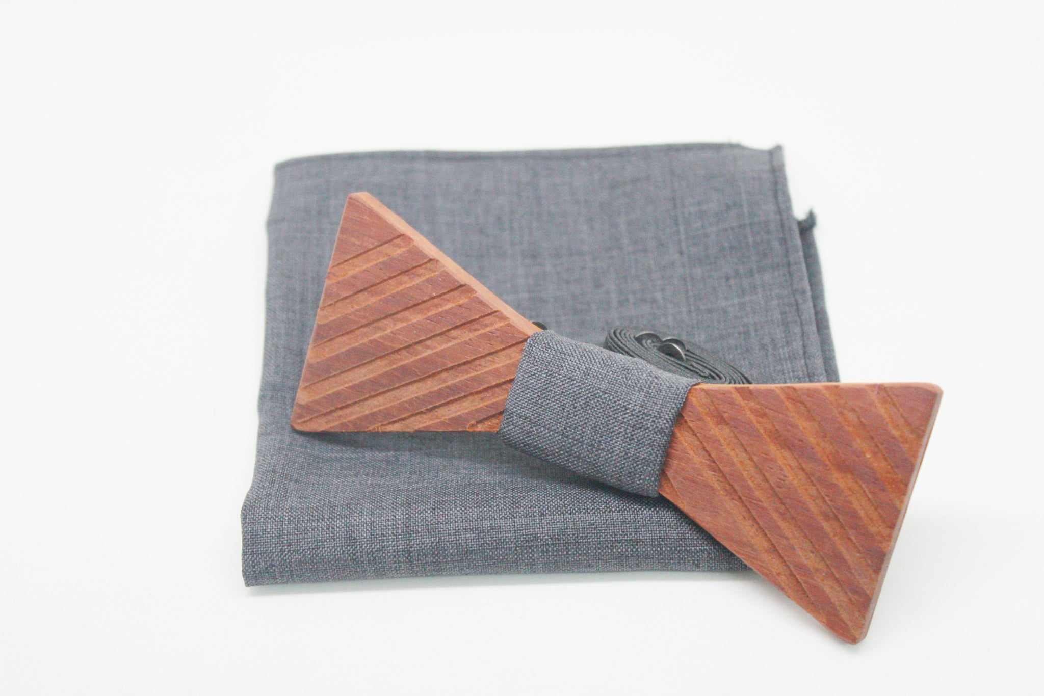 The Scully Triangle Stripped Wooden Bow Tie