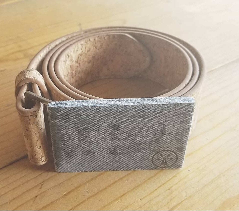 Cork Belt with Denim Buckle Antenna