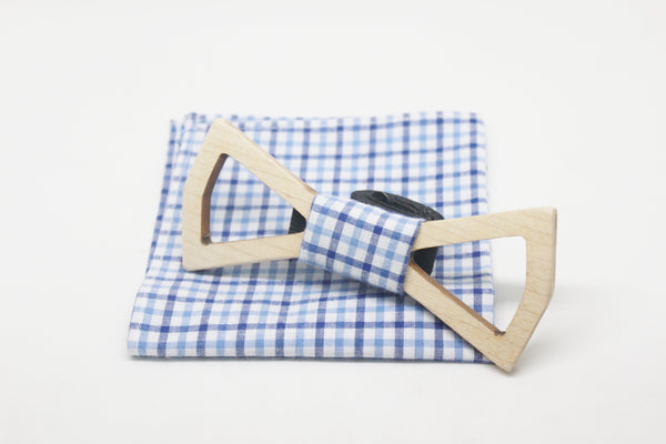 The Marshall Hollow Diamond Wooden Bow Tie
