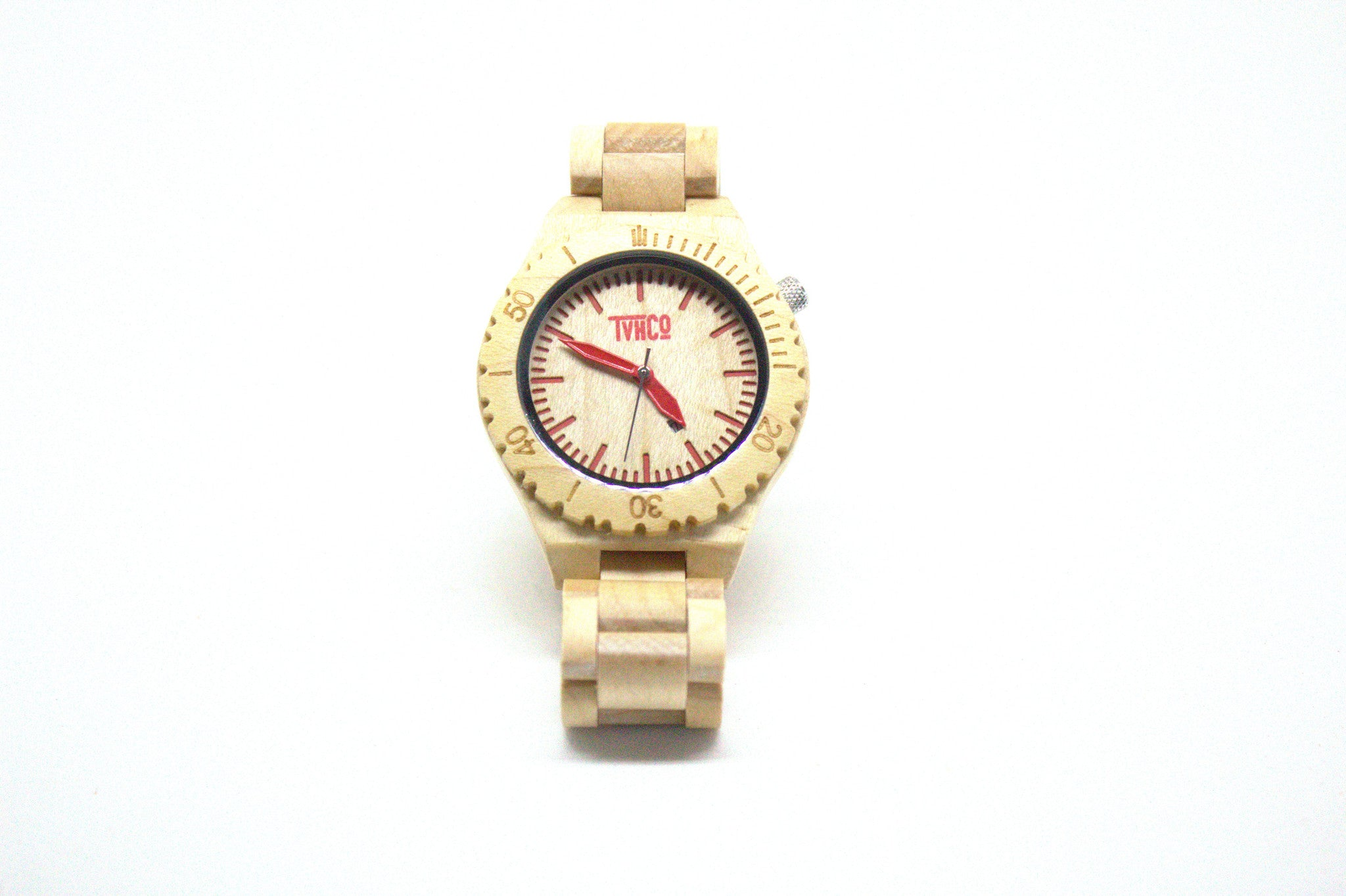 maple wooden watch red pointers