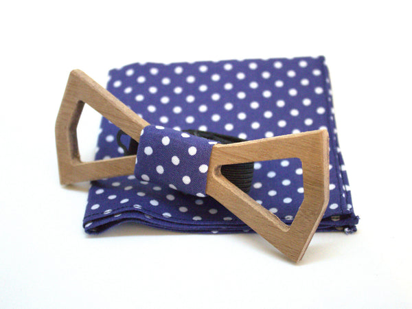 Sapelli Wooden bow tie hollow - Pocket square polka dot