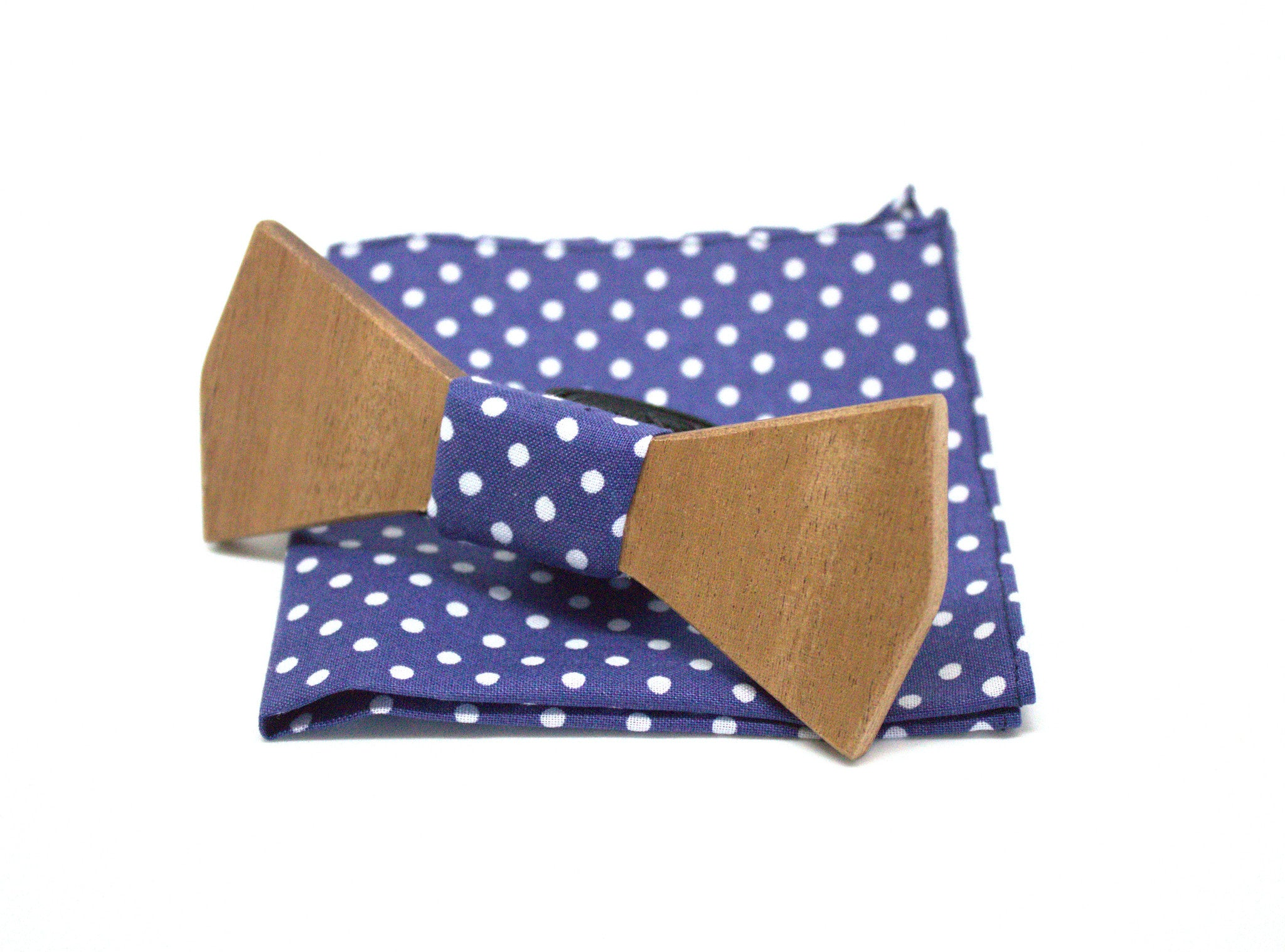 Sapelli wooden bow tie solid with pocket square
