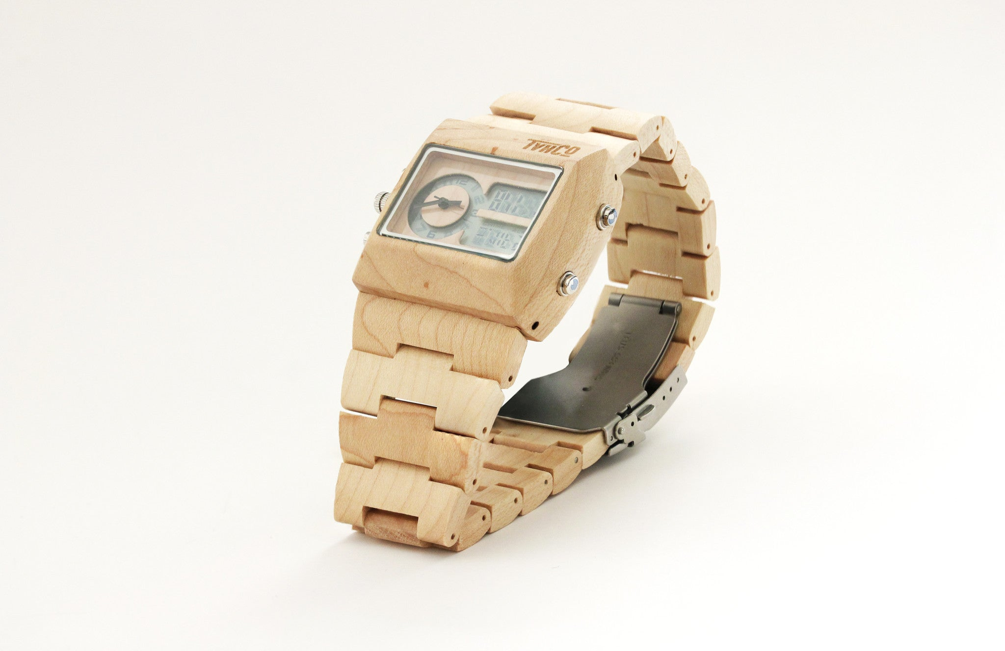 Wooden Watch Digital and Analog Fonz
