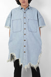 HUEMN Denim oversized asymmetric longline shirt