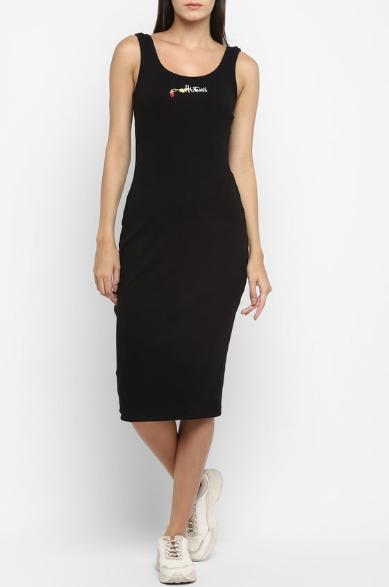 Cold Pressed Rose Bodycon Black dress