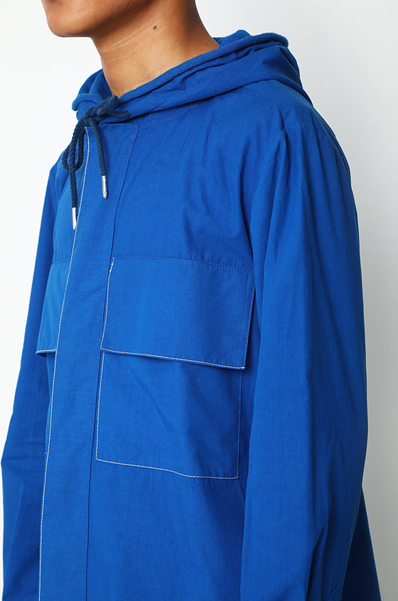 Cobalt Blue  shirt with fleece lined hoodie and patched pockets