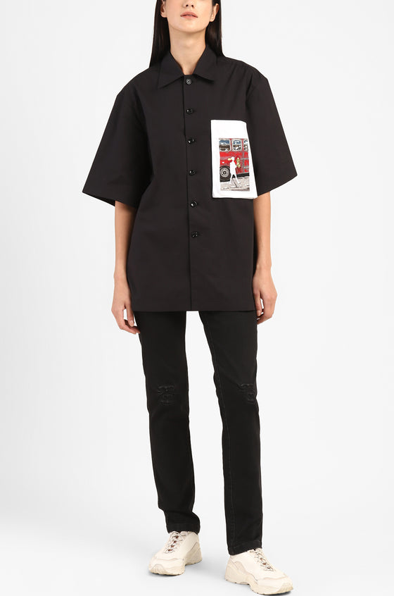 Handcrafted 'Missing person' Safari shirt (Black)