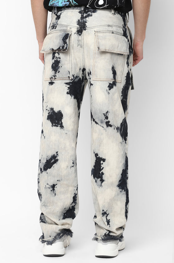 Bleached and tinted HUEMN jeans with oversized patch pockets