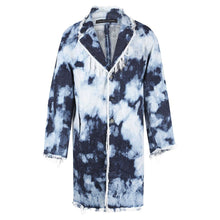 Denim overcoat with bleached effect