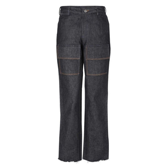 Dark washed HUEMN jeans with oversized patch pockets
