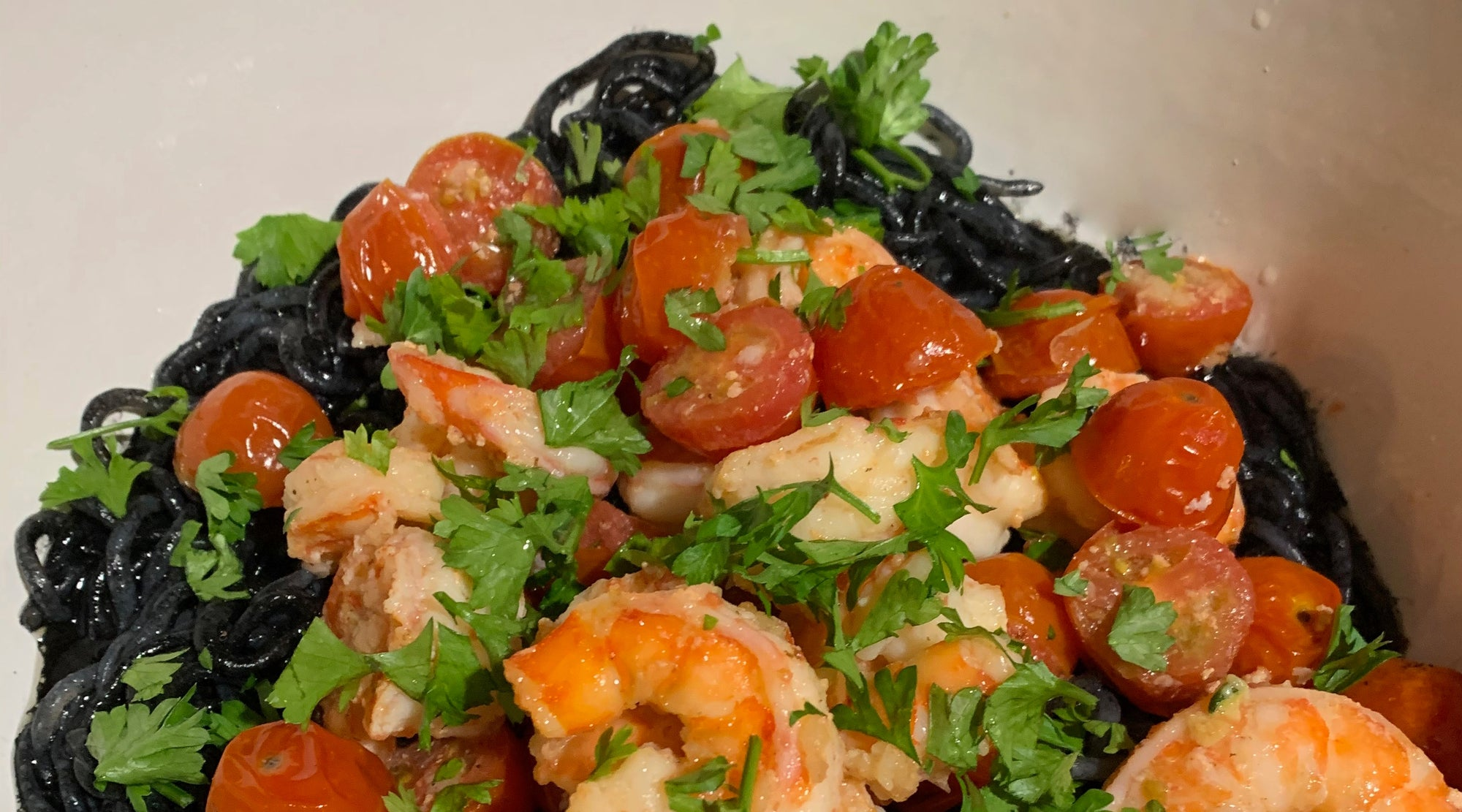 Squid Ink Spaghetti With Shrimp & Tomatoes