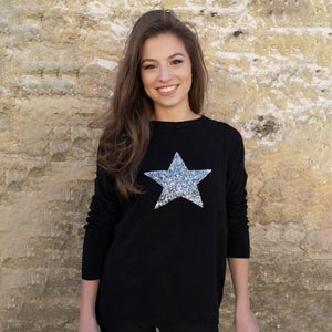 Conker Boutique Luella black cashmere mix jumper with silver sequin star