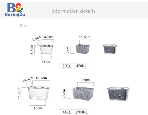 Food Storage Containers measurements