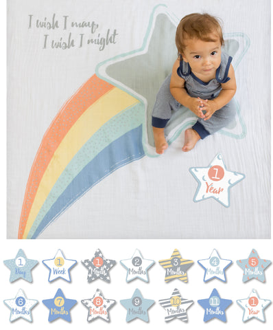 Lulujo Baby's First Year™ Meilenstein-Decke inkl. Karten Set - I Wish I May, I Will