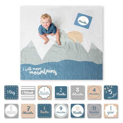 Lulujo Baby's First Year™ Meilenstein-Decke inkl. Karten Set | Will move mountains